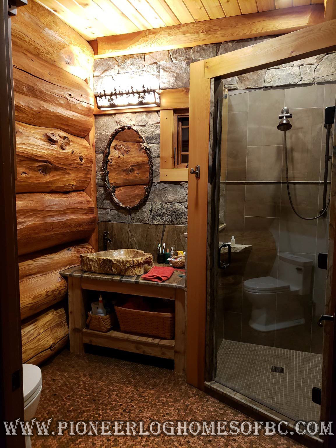 Bedrooms And Bathrooms Log Home Cabin Interiors Pioneer Homes Of Bc
