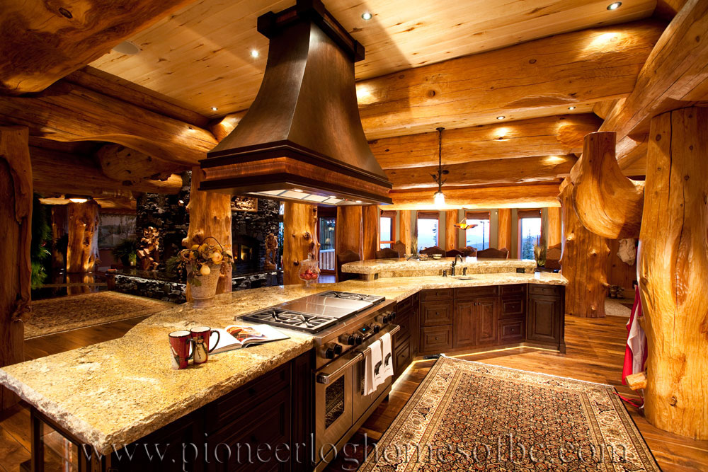 Big white log home custom built log homes pioneer log for Log cabin furniture canada