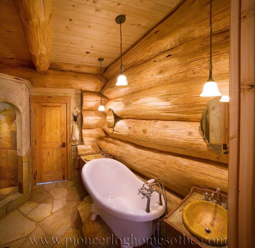 Santa ynez log home picture gallery california usa for Log cabin bathrooms
