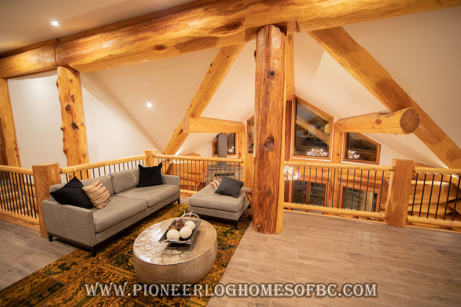 Log Cabin Style Living Room & Loft Designs | BC, Canada