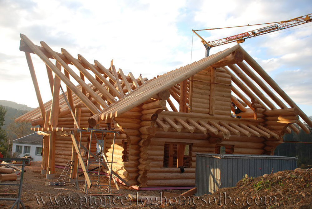 Homes under construction log homes and cabins pioneer for Log construction