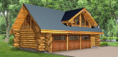 Log homes cabins floor plans bc canada for Log home garage kits