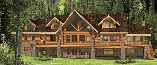 Log homes cabins floor plans bc canada for Eagles ridge log cabin