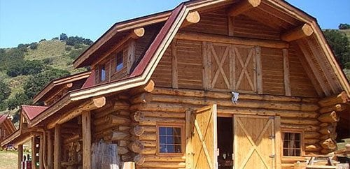 Log garages and log barns floor plans bc canada for Log barn homes
