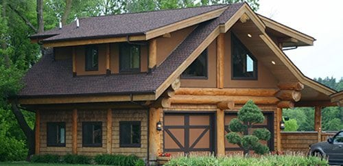 Log garages and log barns floor plans bc canada for Log cabin style garages
