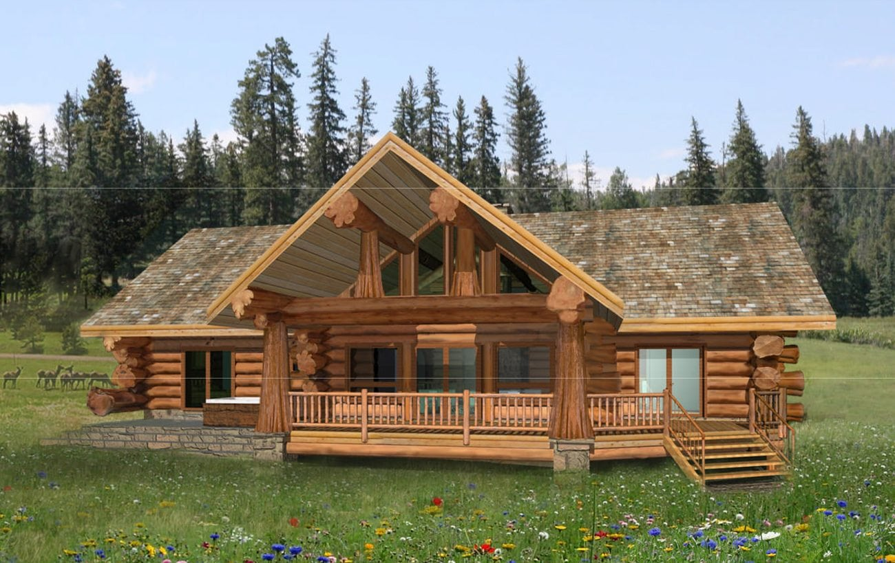 pioneer log homes of bc pioneer 2132 sf. Black Bedroom Furniture Sets. Home Design Ideas