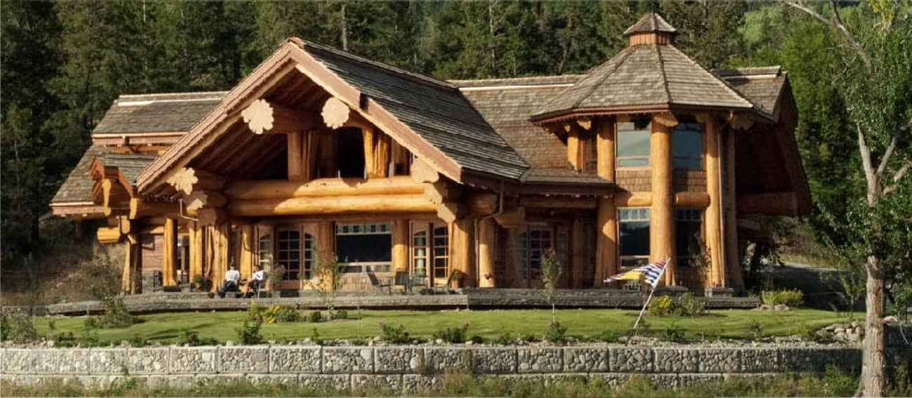Signal point 4824 sf pioneer log homes of bc for Eagles ridge log cabin