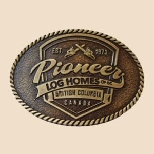 Pioneer Log Homes Shield Belt Buckle