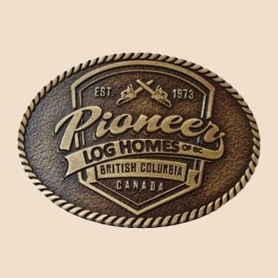 Pioneer Log Homes Shield Belt Buckle